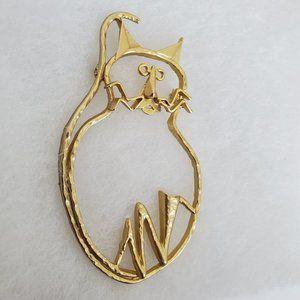 Vtg Figural Gold Tone Cat Brooch Pin Big Cut Out